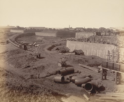 B - View from N.-E. corner forming with A [print 31] a complete panoramic view from N.-E. [Victoria Dock construction, Bombay].